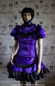 Candy Cupcake Corseted Sissy (Purple & Black) Satin Dress 5