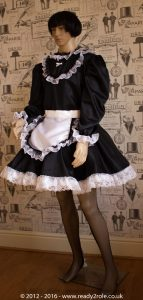 """Starre"" French Maid Sissy Dress in Black Satin With Removable Half Apron 3"