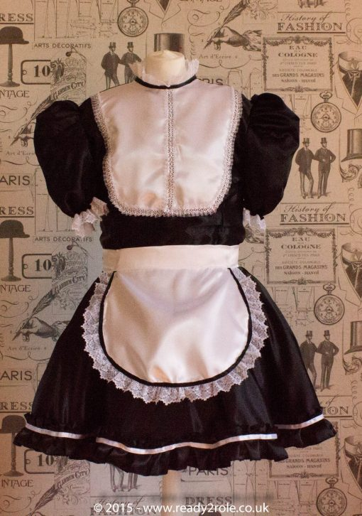 """Betty"" French Maid Dress in Satin With Removable Half Apron 2"