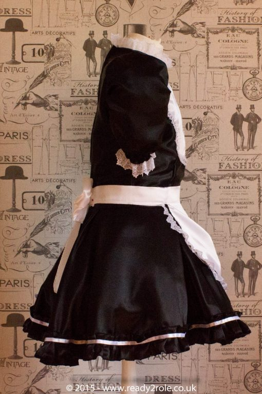 """Betty"" French Maid Dress in Satin With Removable Half Apron 6"