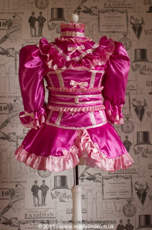 """The Candy Cupcake Corseted Sissy Dress in Satin with """"Bow Peek"""" Front 5"""
