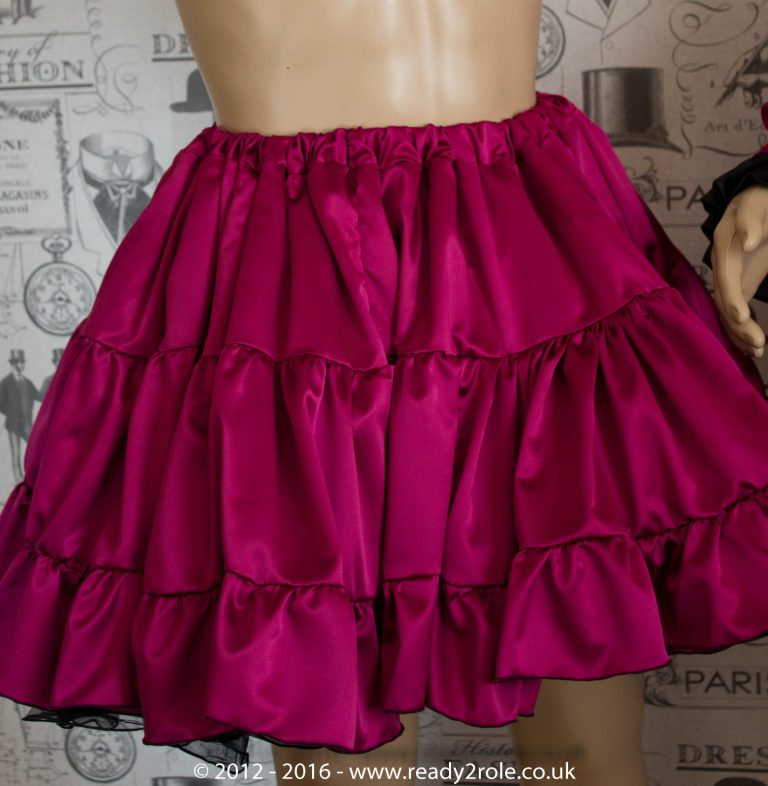 Sissy Frilly Hand Crafted Petticoat (Burgundy) – Above Knee Length 2