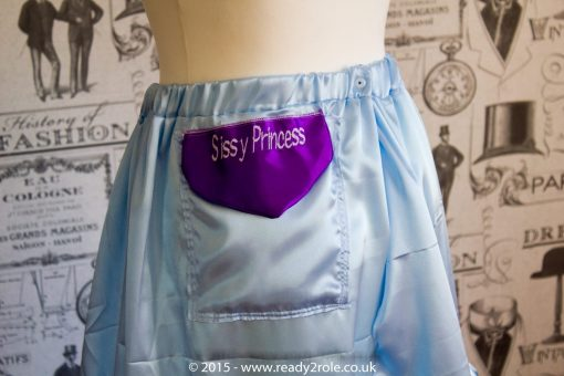 Sissy Frilly Hand Crafted Petticoat – Baby Blue Satin – Longer Length 2