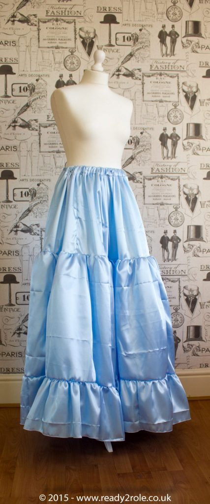 Sissy Frilly Hand Crafted Petticoat – Baby Blue Satin – Longer Length 1