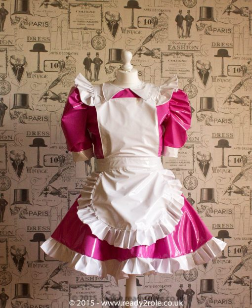 Alice Even More Sissy PVC Maid Dress With Full Apron – Pink & White Version 2