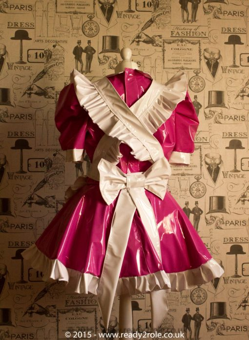 Alice Even More Sissy PVC Maid Dress With Full Apron – Pink & White Version 5