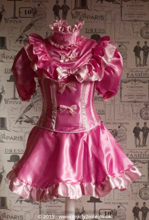 Candy Cupcake Corseted Sissy Satin Dress 1