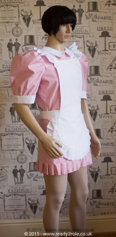 FPJ Full Service Cotton Sissy Maids Dress With Full Apron Pink Version 1