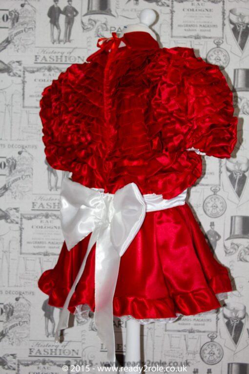 Bow Peek Sissy Satin Ruffle Dress – Red Version 2