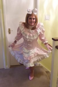 Sissy Billie in her Ready2Role Sissy Satin Candy Cupcake Dress